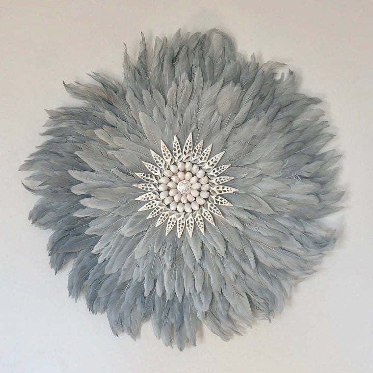 Feather Wall Art 55cm : Dove Grey