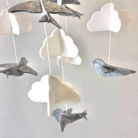 Felt Baby Mobile : Bird / Grey Wallhangings Ecosprout