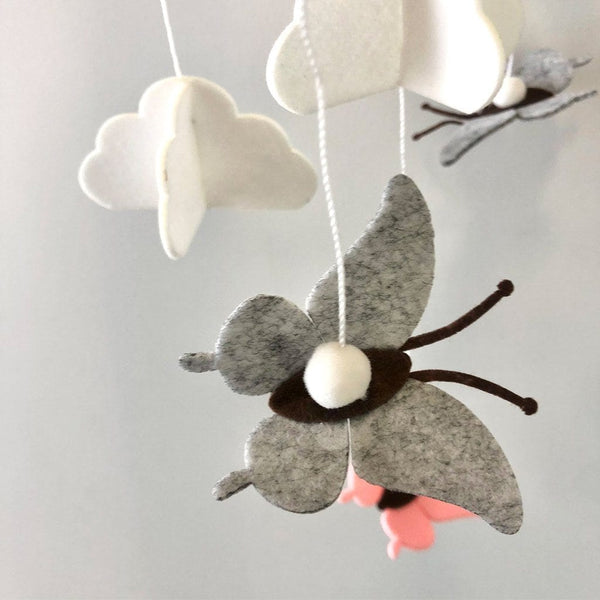 Felt Baby Mobile Butterfly : Watermelon & Grey Wallhangings Ecosprout