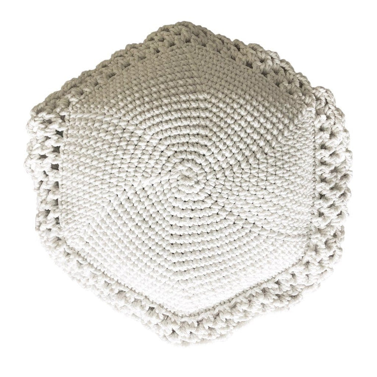 Crochet Cushion Round - Off White