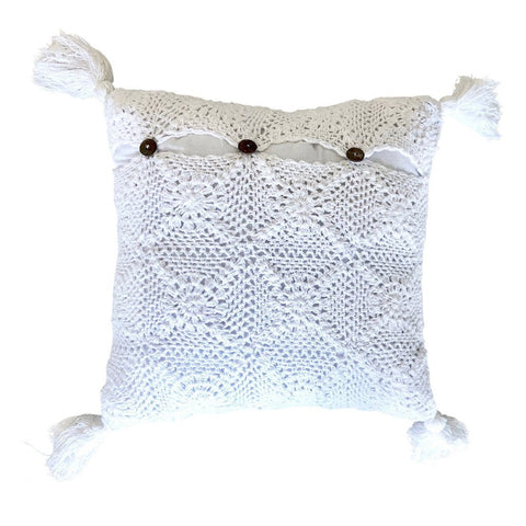 Crochet Nursery Cushion - White 40cm Homewares Ecosprout