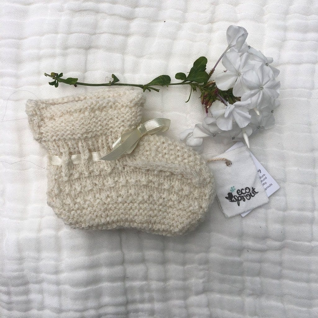 Merino Alpaca Booties (Moss Stitch) : Winter White Baby Accessory Ecosprout 0-3 Mths
