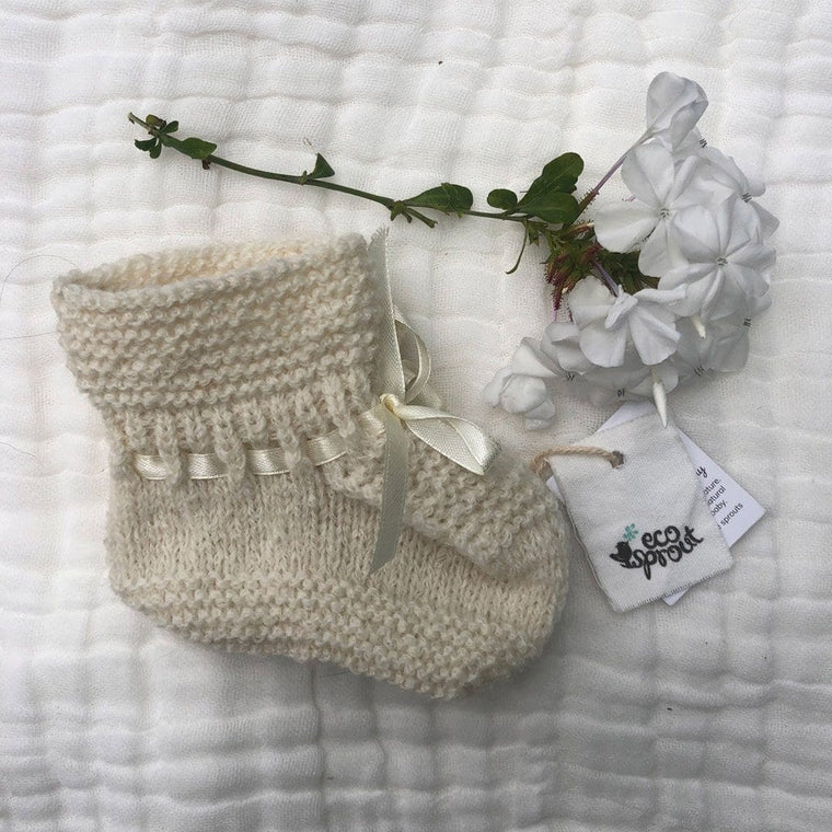 Merino Alpaca Booties (Plain Stitch) : Winter White