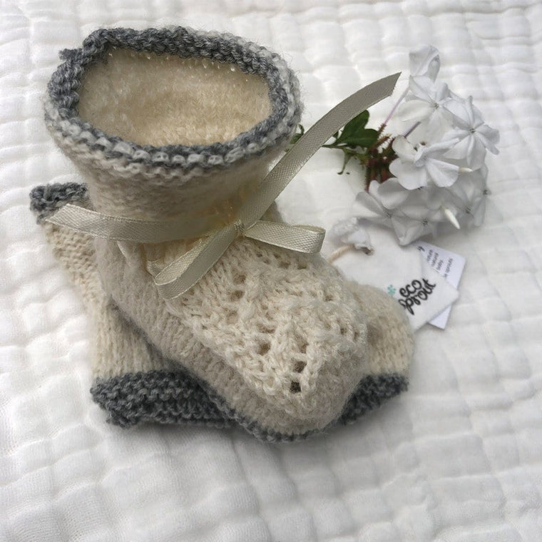 Merino Alpaca Booties (Vintage Stitch) : Winter White/Grey Marl