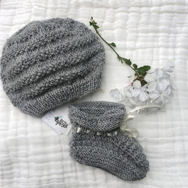 Merino Bootie & Beanie Set (Moss Stitch) : Grey Marl Baby Accessory Ecosprout 0-3 Mths
