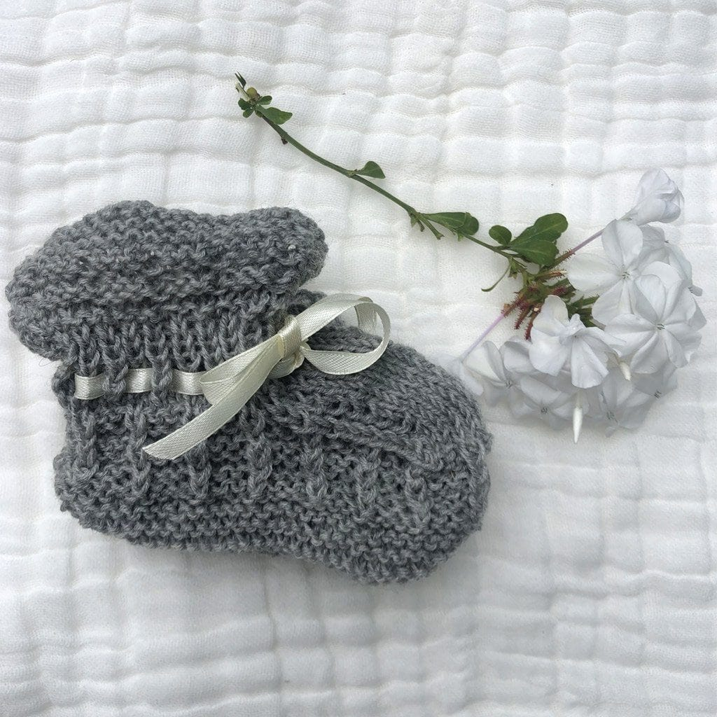 Merino Booties (Box Knit Stitch) : Grey Marl Baby Accessory Ecosprout