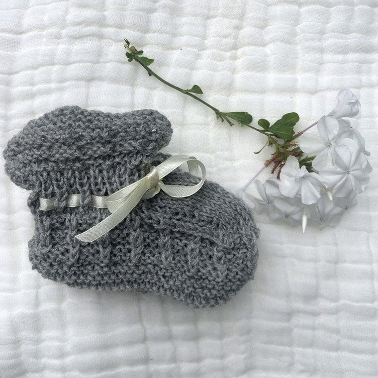 Merino Booties (Box Knit Stitch) : Grey Marl