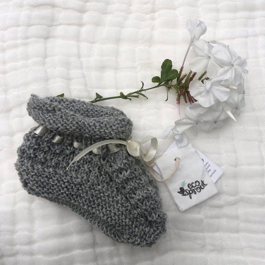 Merino Booties (Moss Stitch) : Grey Marl Baby Accessory Ecosprout 0-3 Mths