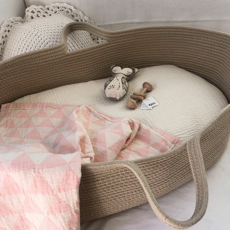 Cotton Bassinet Blanket : Pink Hills