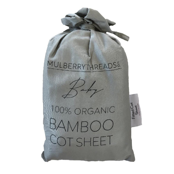 Organic Bamboo Cot Fitted Sheet : Dove Grey Sheet Mulberry Threads