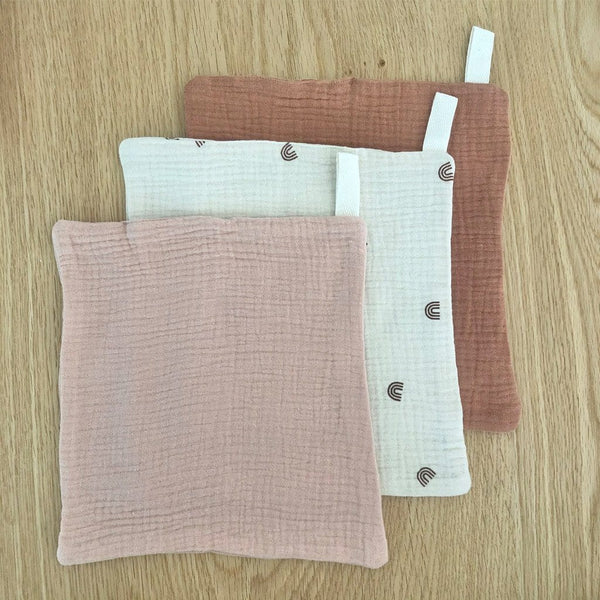 Muslin Cloths 3pk: Blush Nutmeg Baby Care Ecosprout