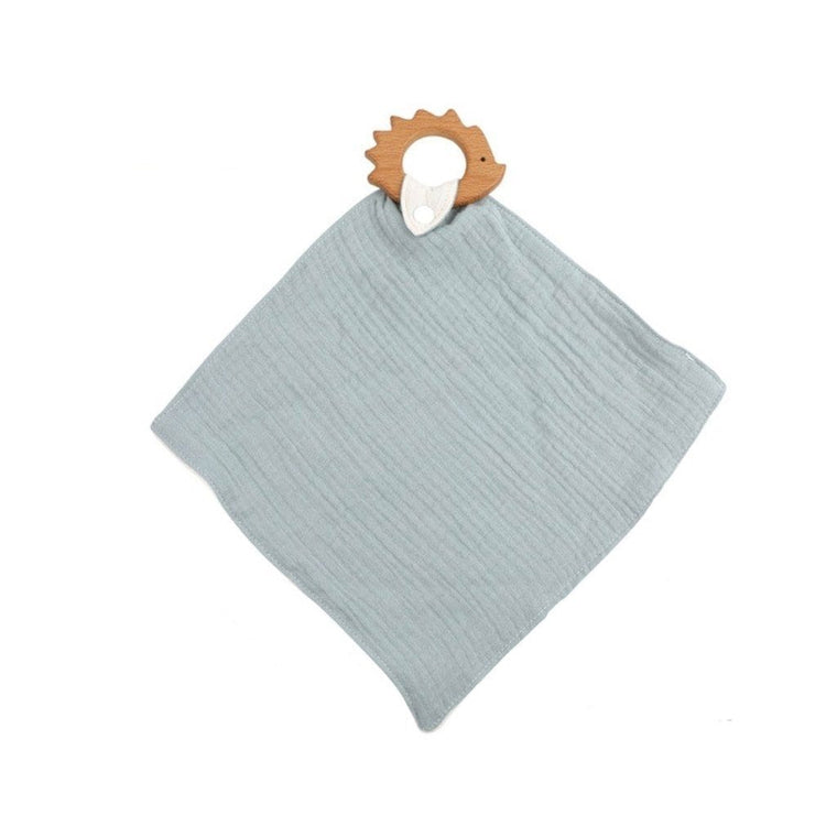 Muslin Teether with Wooden Hedgehog : Duck Egg