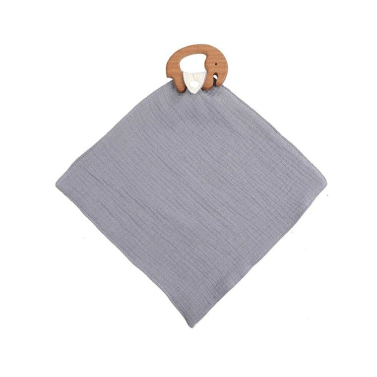 Muslin Teether with Wooden Elephant : Grey