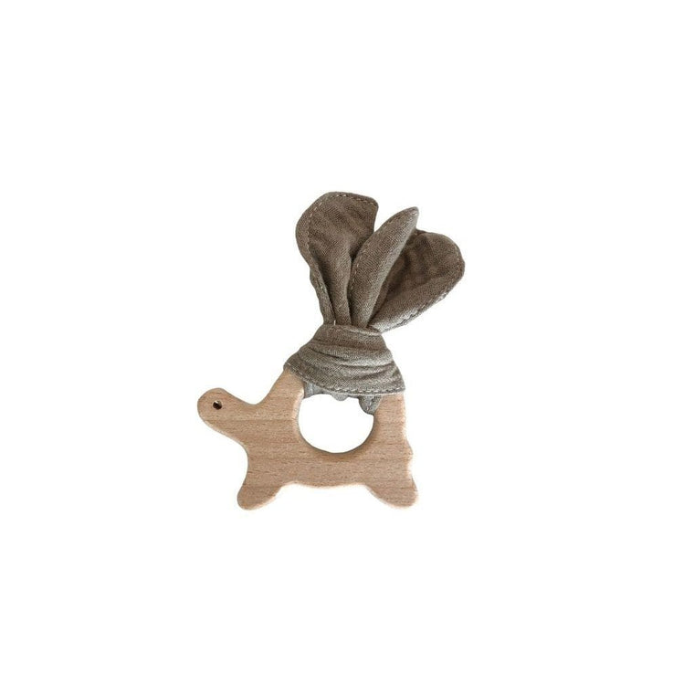 Muslin Teether with Wooden Turtle : Mocha