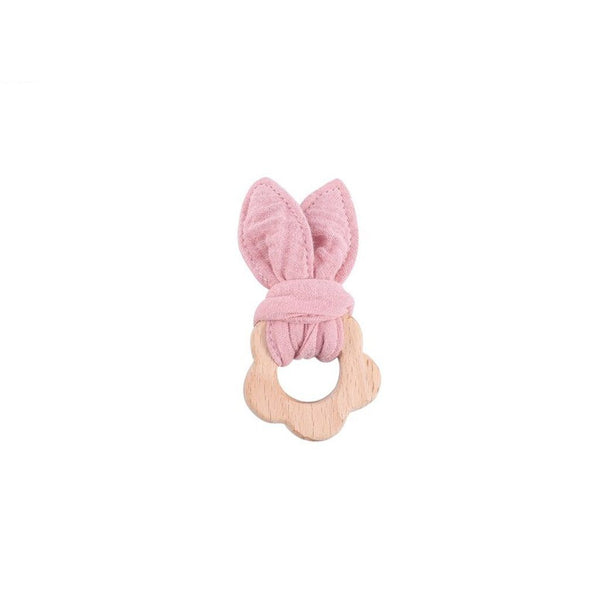 Muslin Teether with Wooden Flower : Pink Toys Ecosprout