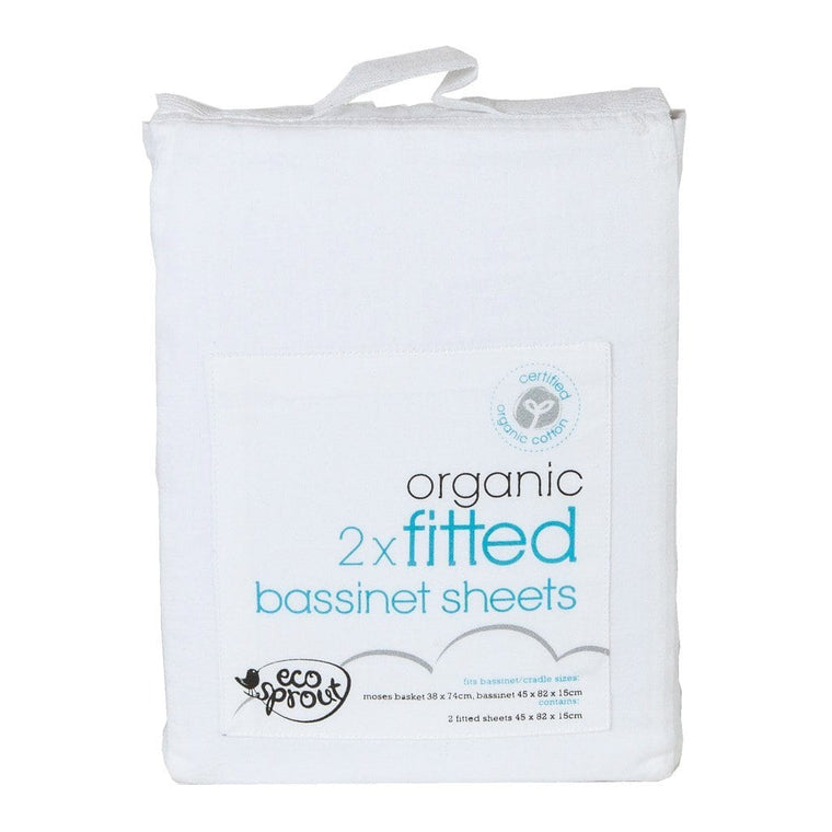 Fitted Bassinet Sheets  - Certified Organic - 2 Pack