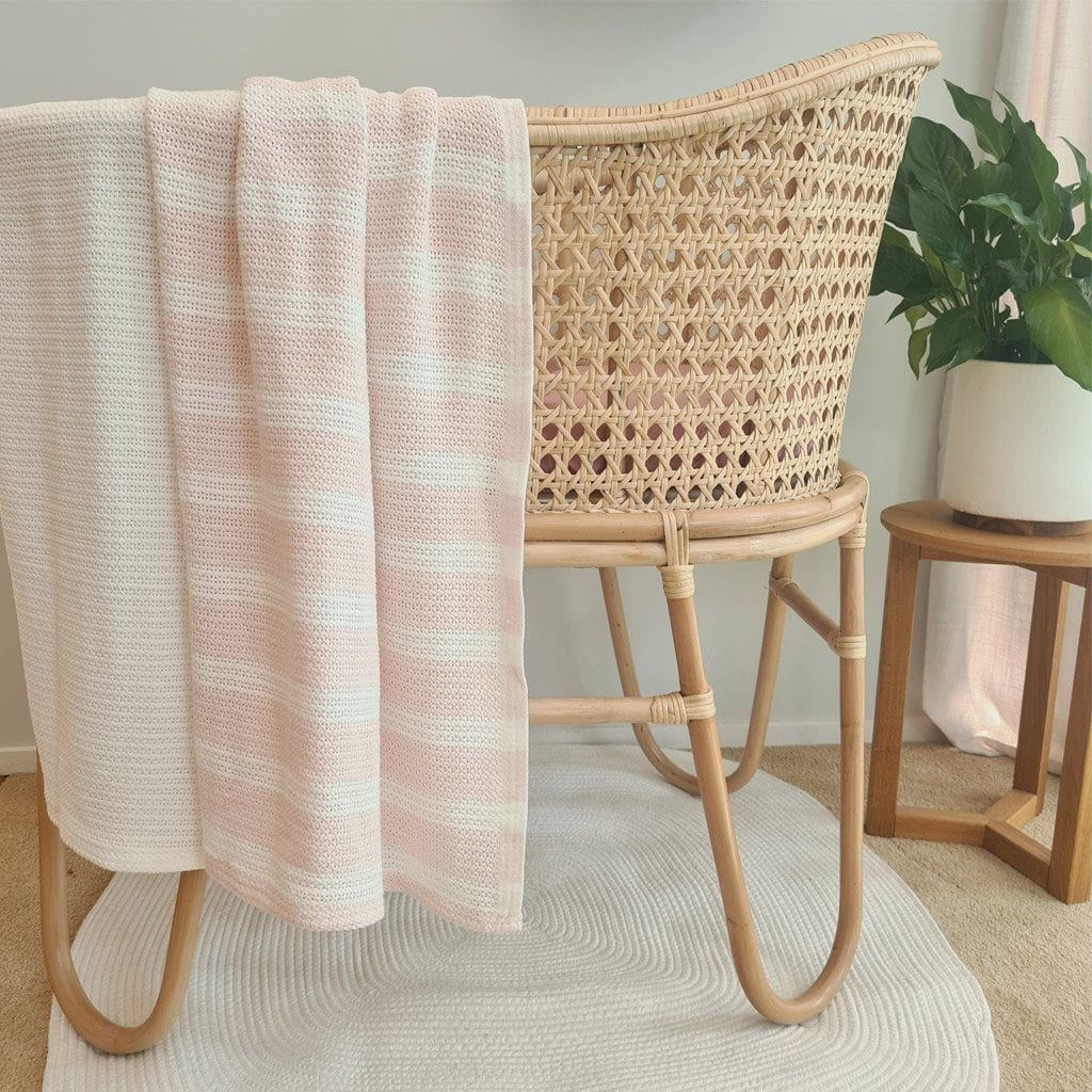 Organic Cotton Cellular Bassinet Blanket – Powder Puff/Natural Stripe Blanket Ecosprout