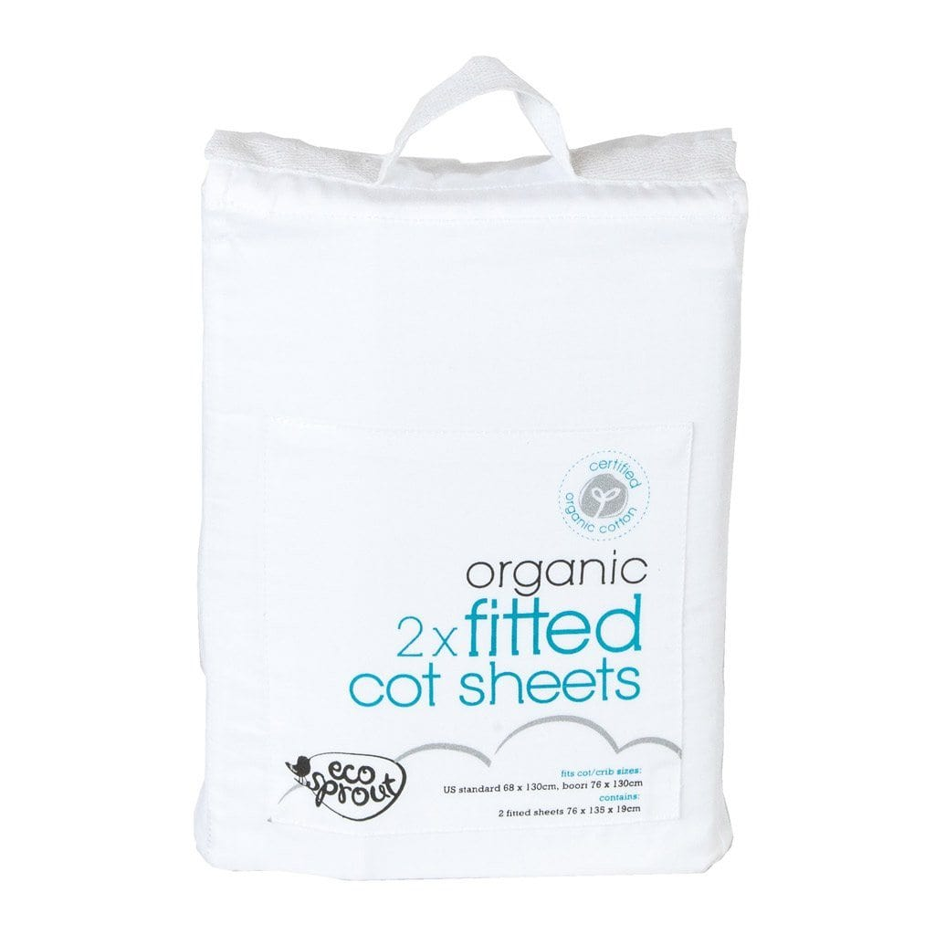 Ecosprout Organic Cotton Fitted Cot Sheets - 2 Pack