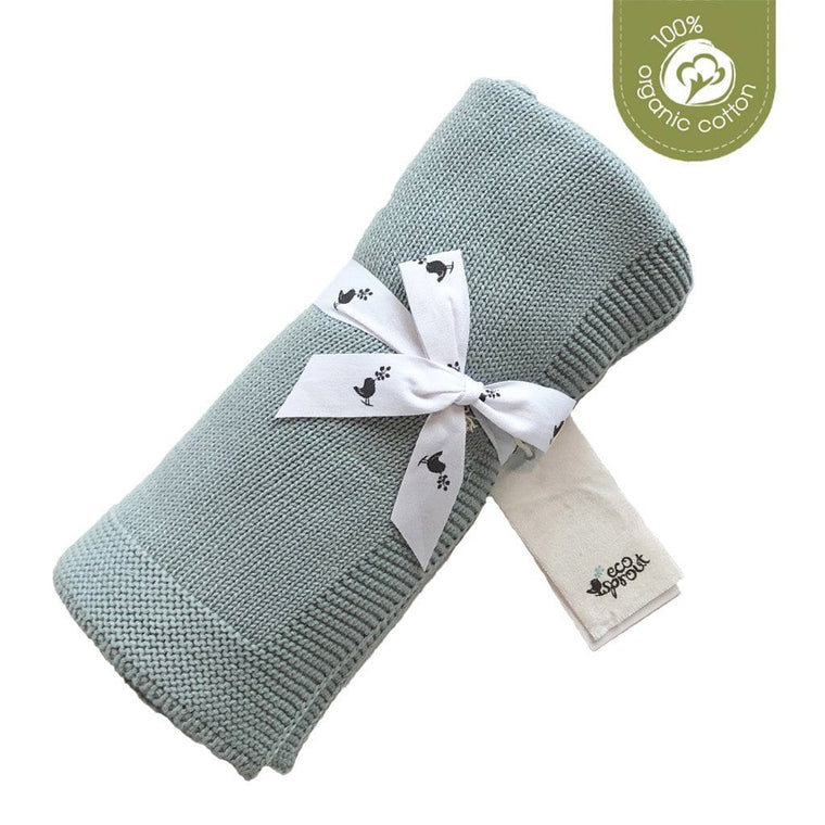 Organic Cotton Sweet Dreams Cot Blanket : Sky Gray