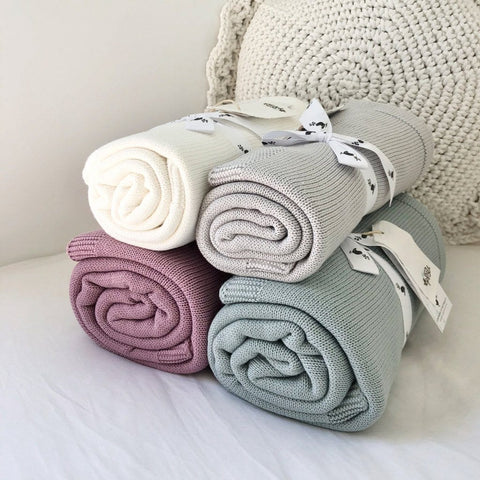 Organic Cotton Sweet Dreams Cot Blanket : Sky Gray Blanket Ecosprout