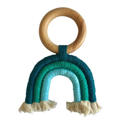 Boho Rainbow Tassel Wooden Decor : Teal Teether Ecosprout