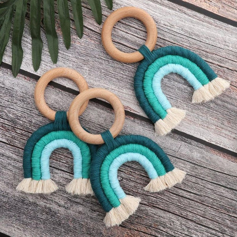 Boho Rainbow Tassel Wooden Decor : Teal