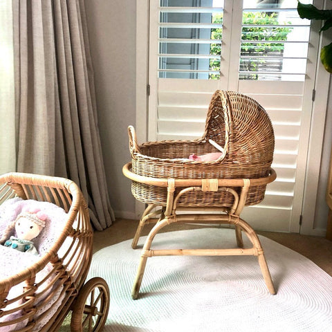 Rattan Doll's Bassinet - Bella Nursery Ecosprout