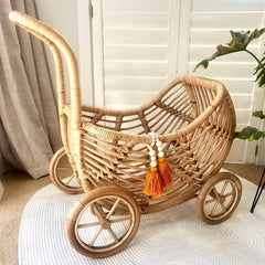 Ecosprout Rattan Dolls Pram Nursery Ecosprout