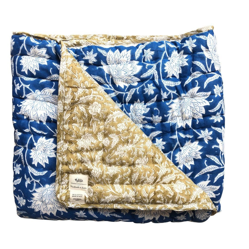 Reversible Queen Quilt : French Blue Lotus Quilt Ecosprout