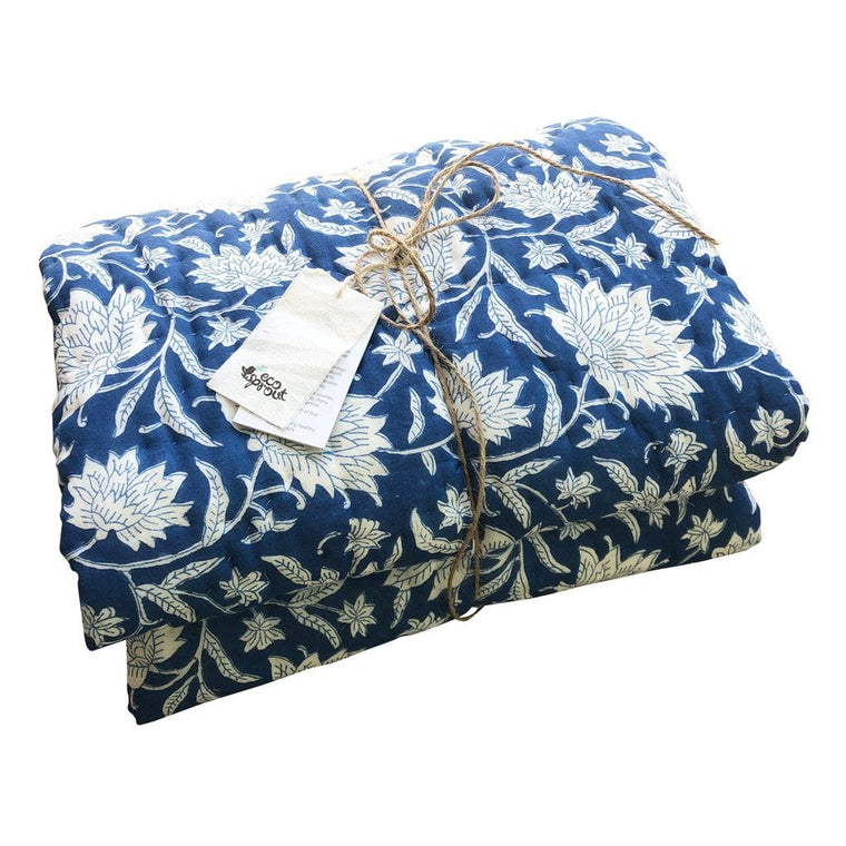 Reversible Cot Quilt : French Blue Lotus