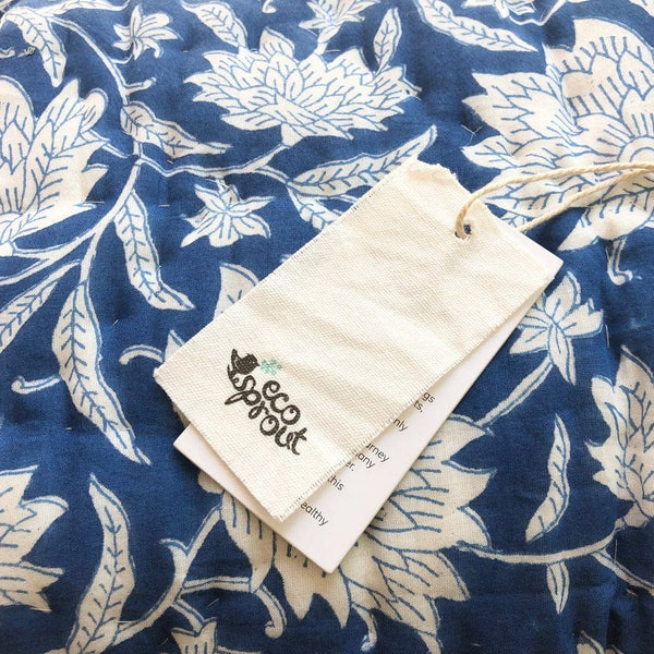 Reversible Playmat : French Blue Lotus Quilt Ecosprout