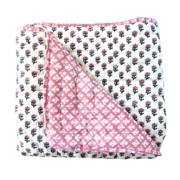 Reversible Cot Quilt  : Indian Rose