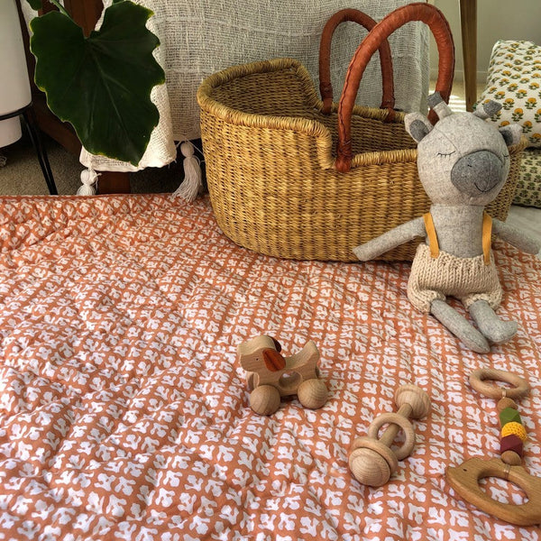 Reversible Playmat : Nutmeg Ochre Quilt Ecosprout