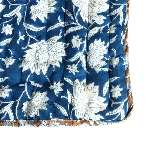 Reversible Cot Quilt : French Blue Lotus Quilt Ecosprout
