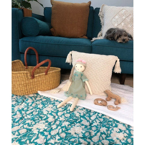 Reversible Playmat : Kingfisher Vines Quilt Ecosprout