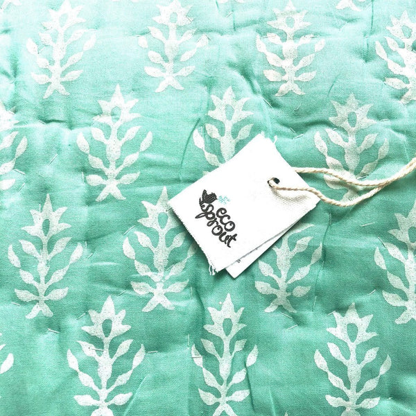 Reversible Cot Quilt : Sage Lotus (Due End Sept) Quilt Ecosprout