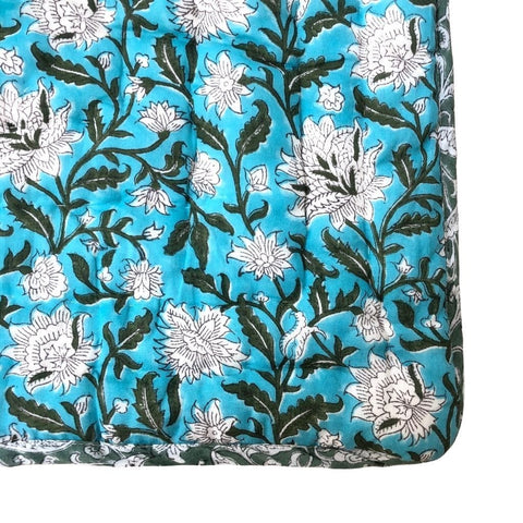 Reversible Cot Quilt : Turquoise Lotus Quilt Ecosprout