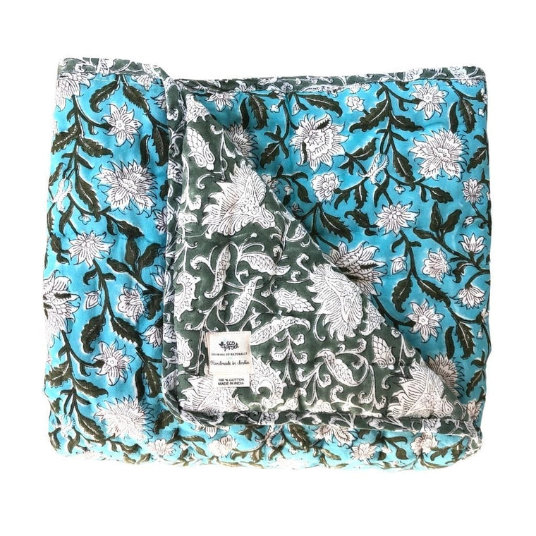 Reversible Cot Quilt  : Turquoise Lotus