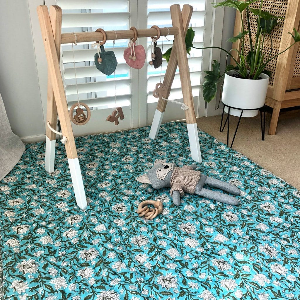 Reversible Playmat : Turquoise Lotus Quilt Ecosprout