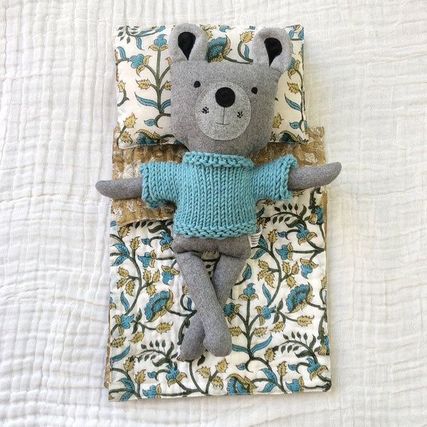 Reversible Dolls Quilt : Teal Vines Toys Ecosprout