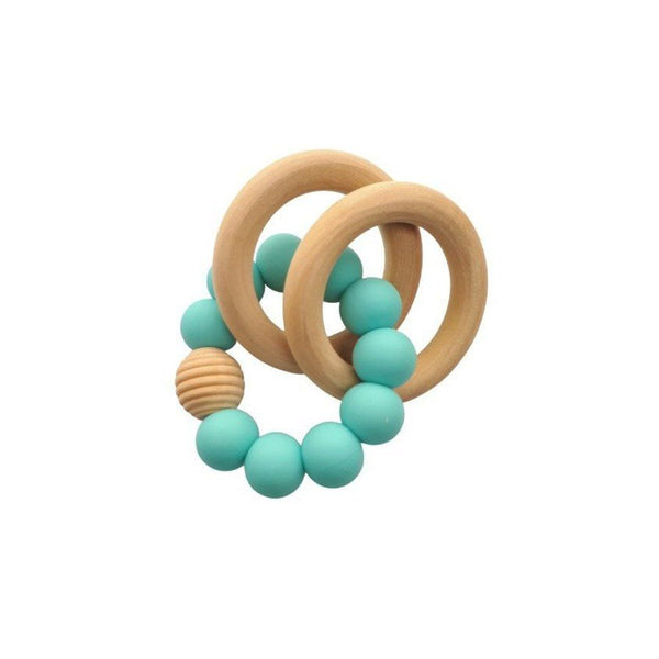 Wooden Silicone Teether Ring : Aqua Teether Ecosprout