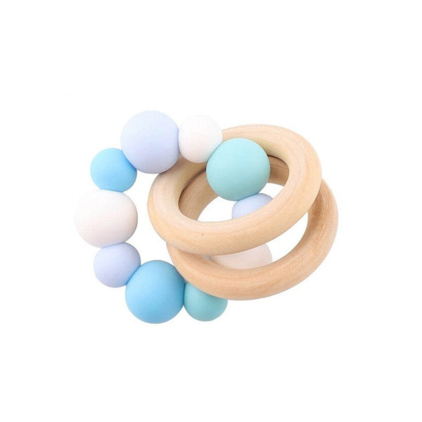 Wooden Silicone Teether Ring : Multi Blue Teether Ecosprout