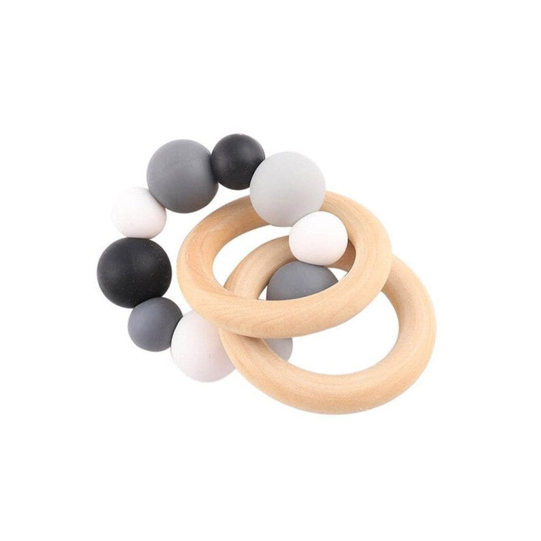 Wooden Silicone Teether Ring : Multi Grey
