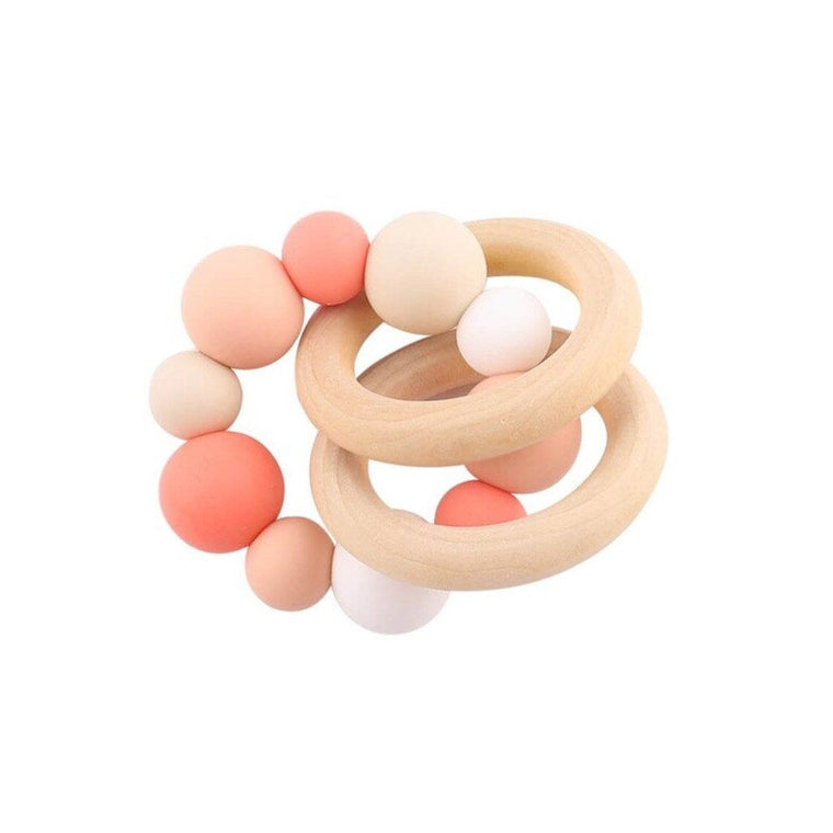Wooden Silicone Teether Ring : Multi Orange