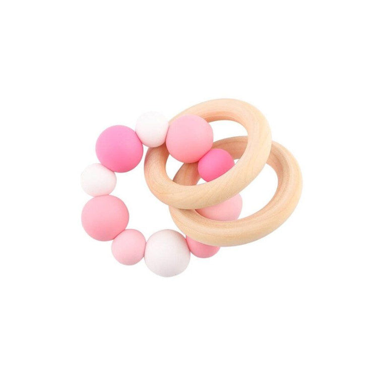 Wooden Silicone Teether Ring : Multi Pink