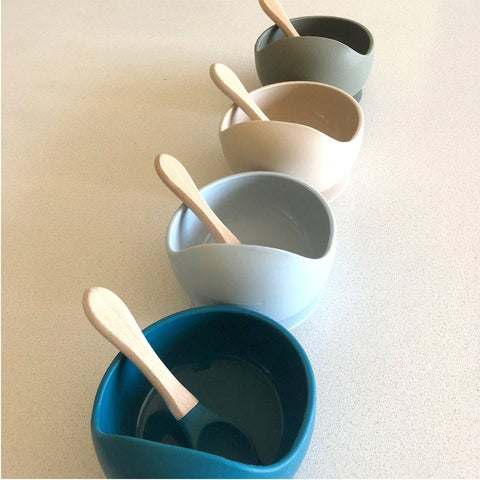 Silicone Bowl and Spoon Set : Ice Blue Feeding and Nursing Ecosprout