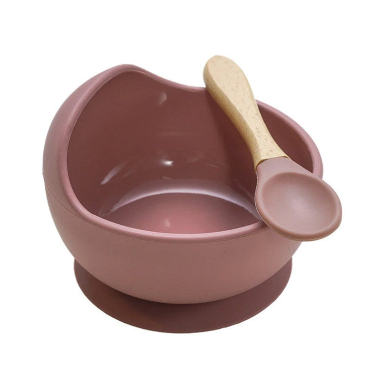 Silicone Bowl and Spoon Set : Rose