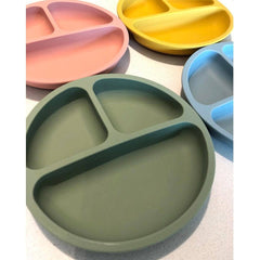 Divided Silicone Plate Set : Grey Blue Feeding and Nursing Ecosprout