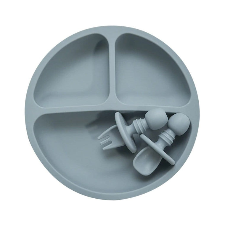 Divided Silicone Plate Set : Grey Blue