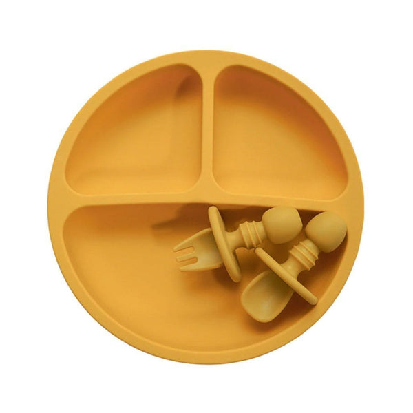 Divided Silicone Plate Set : Mustard Feeding and Nursing Ecosprout